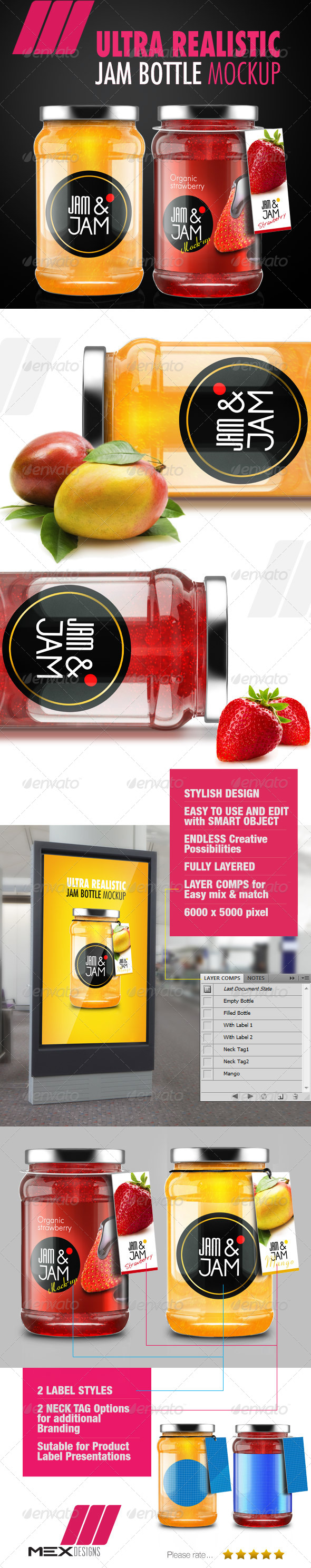 GraphicRiver Realistic Jam Bottle Mock-ups 6882173