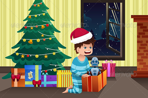 GraphicRiver Boy Opening a Present under the Christmas Tree 6908352
