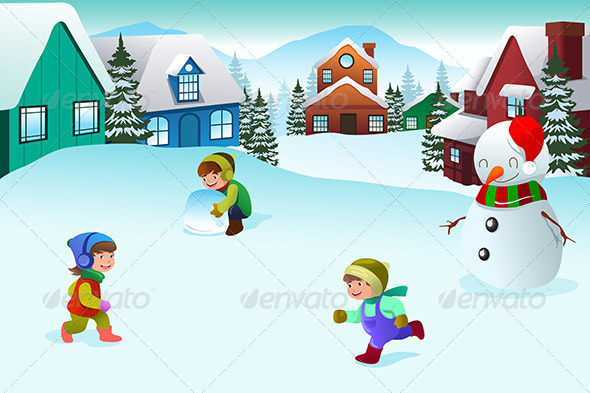 GraphicRiver Kids Playing in a Winter Wonderland 6908364
