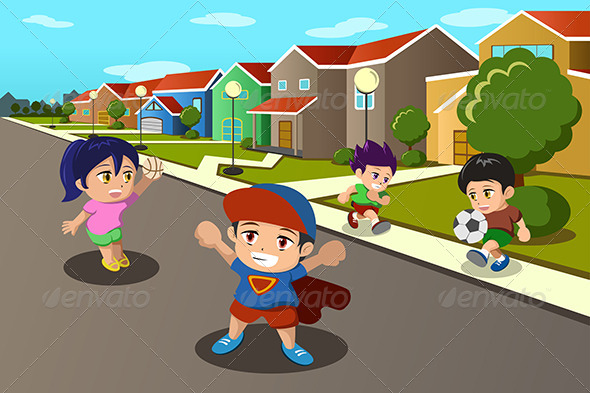 GraphicRiver Kids Playing in the Street 6908562
