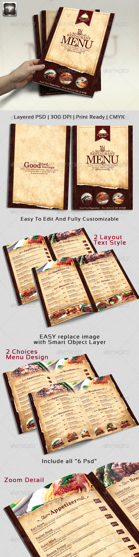 GraphicRiver Modern Vintage Restaurant Menu Templates 6908591