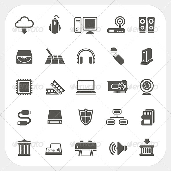 GraphicRiver Computer Hardware Icons Set 6908650