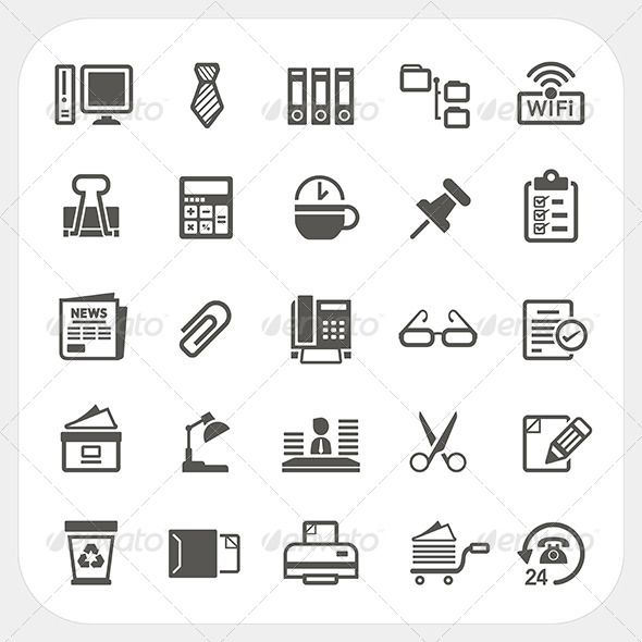 GraphicRiver Business and Office Icons Set 6908666