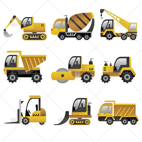 GraphicRiver Big Construction Vehicles Icons 6909583