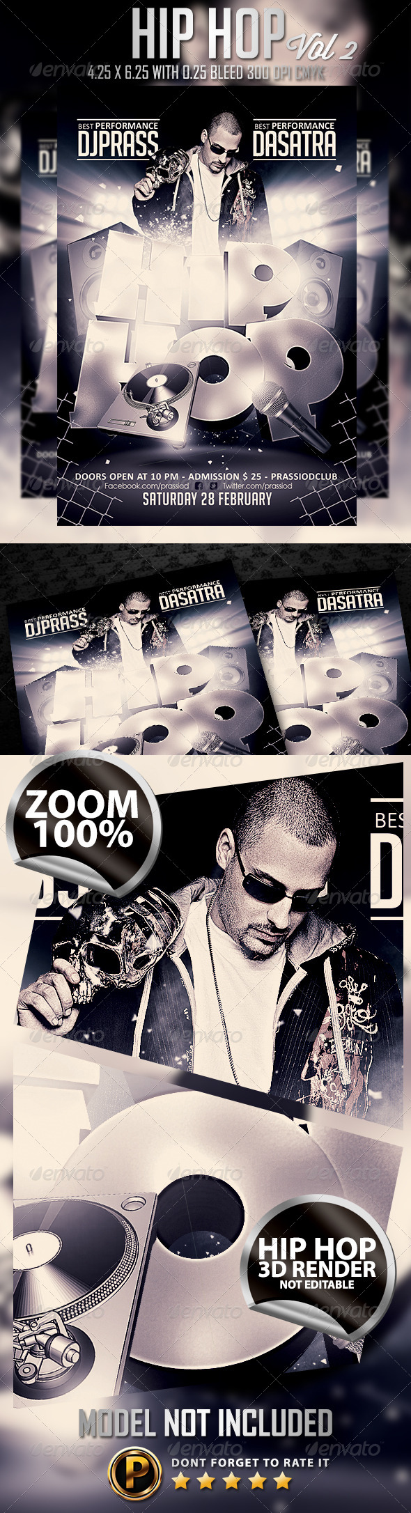 Hip Hop Flyer Template vol 2 - Clubs & Parties Events