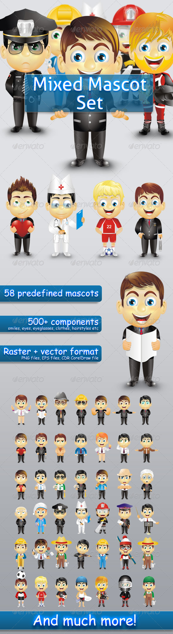 Graphic River Mixed Mascot Set Vectors -  Characters  People 721962