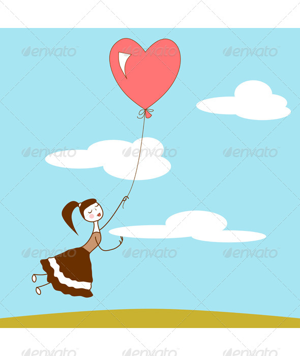 GraphicRiver Girl With a Heart Balloon 6910791