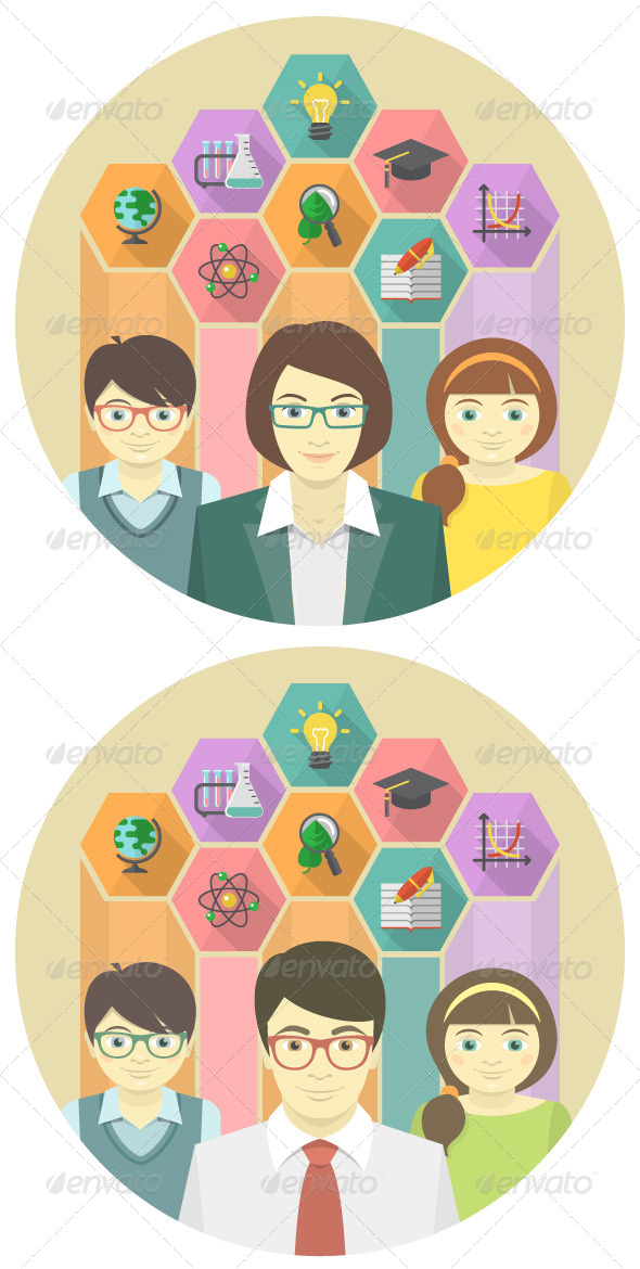 GraphicRiver Teacher and Pupils Concept 6911049