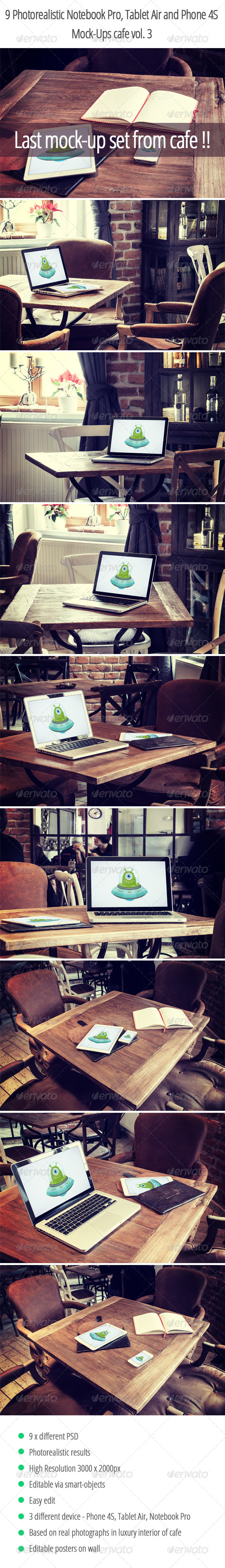GraphicRiver 9 Photorealistic Device Mock-Ups in Cafe Vol.3 6912263
