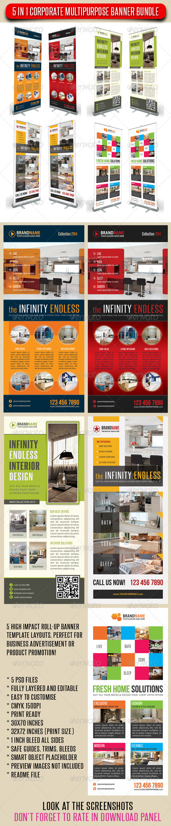 GraphicRiver 5 in 1 Corporate Multipurpose Banner Bundle 08 6912417