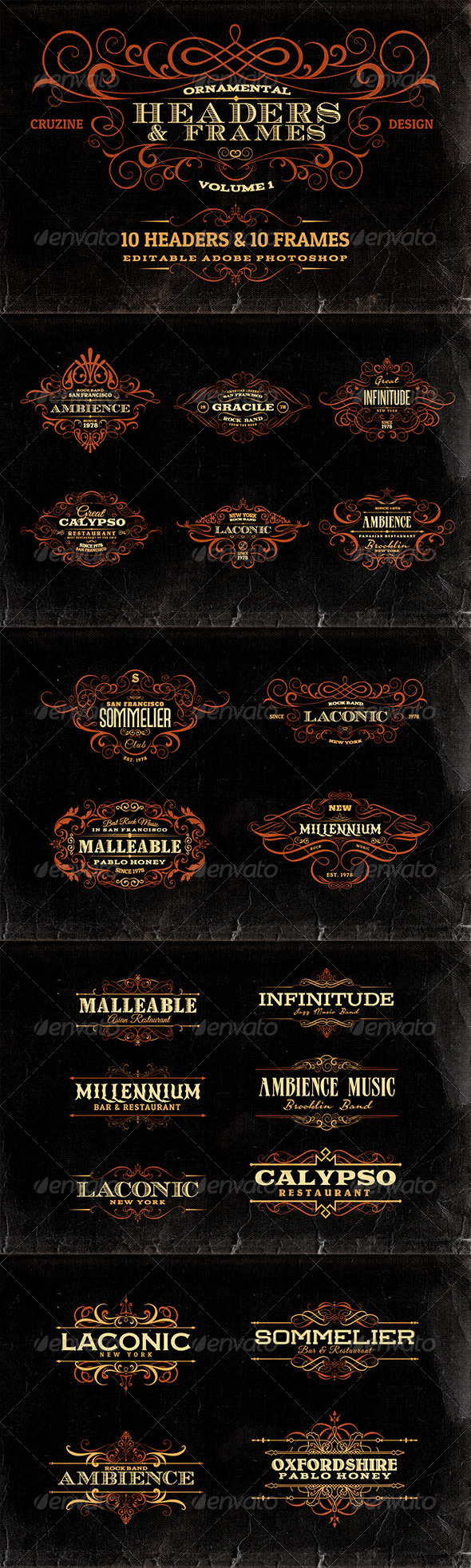 GraphicRiver Ornamental Headers & Frames v.1 6912670