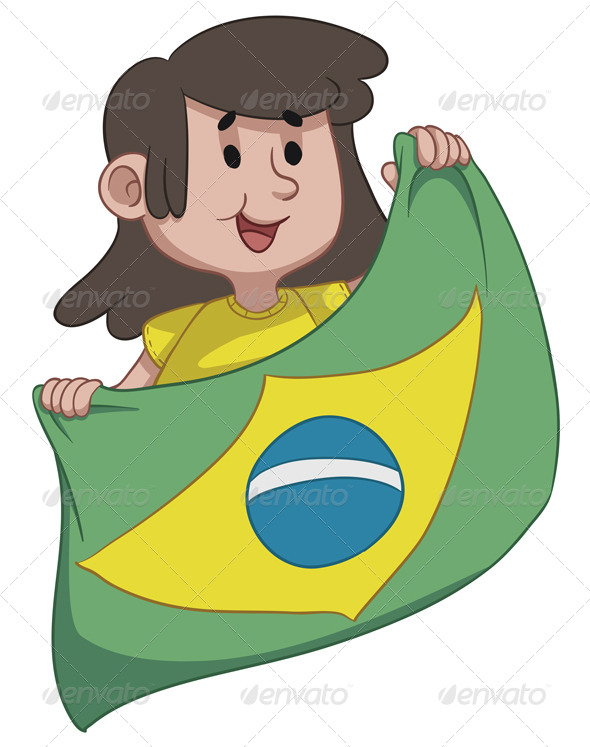 GraphicRiver Girl Holding a Brazilian Flag 6912716