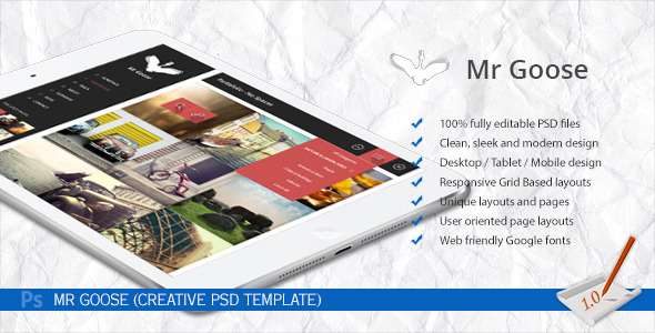 Mr Goose - Creative PSD Template - Preview