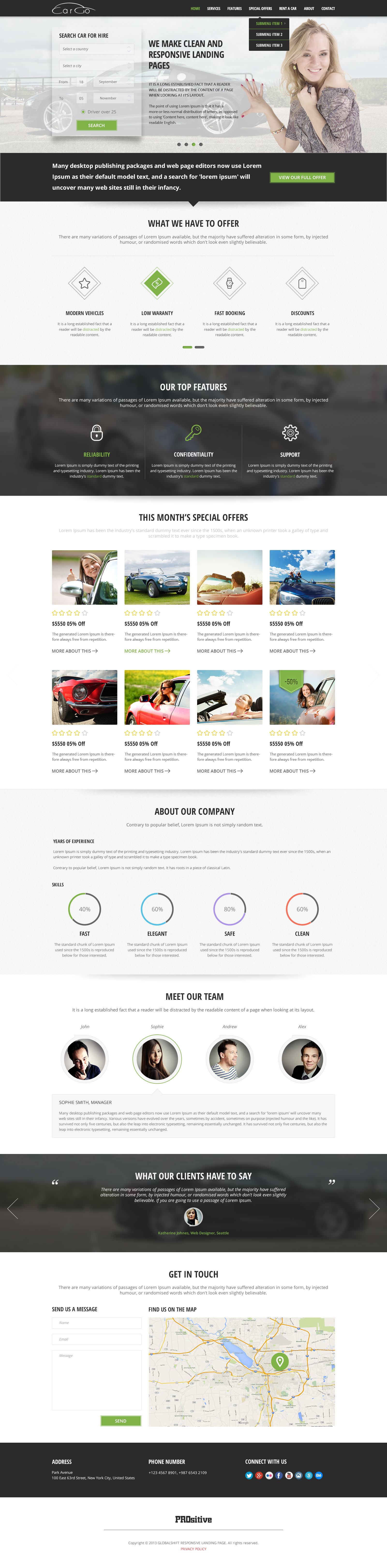 CarGo - Online Booking PSD Template - Desktop - Home Page