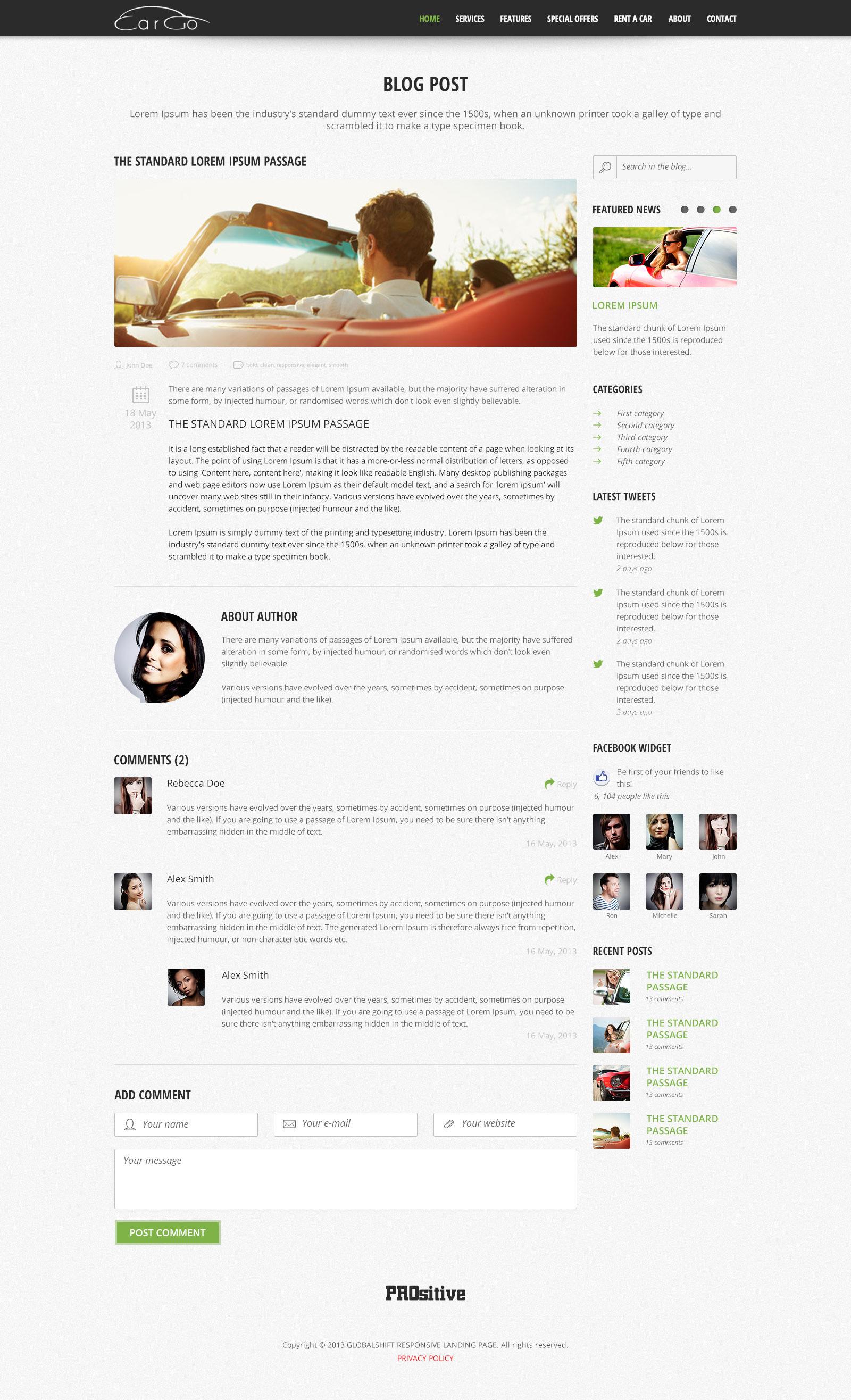 CarGo - Online Booking PSD Template - Desktop - Blog Post Page