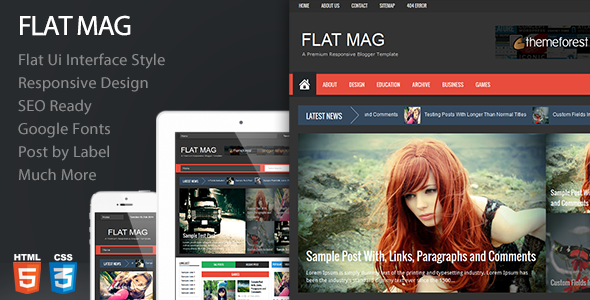 Flat Mag - Responsive Magazine Blogger Template  - Blogger Blogging