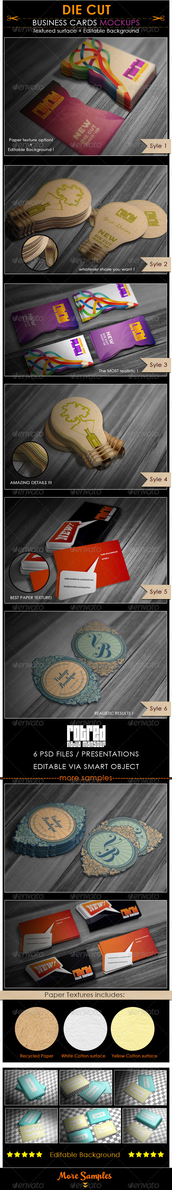 GraphicRiver Die Cut Business Cards Mockup 6908234