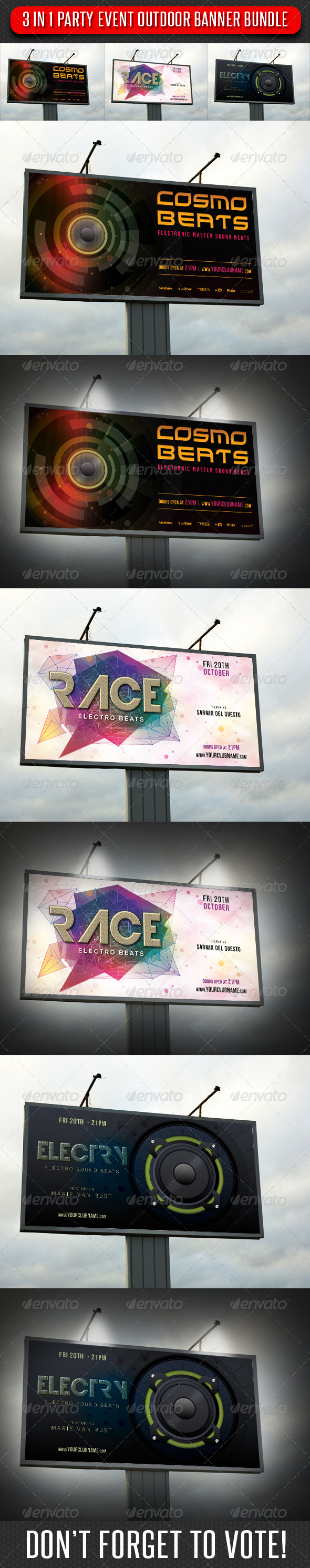 GraphicRiver 3 in 1 Party Event Outdoor Banner Bundle 01 6912931