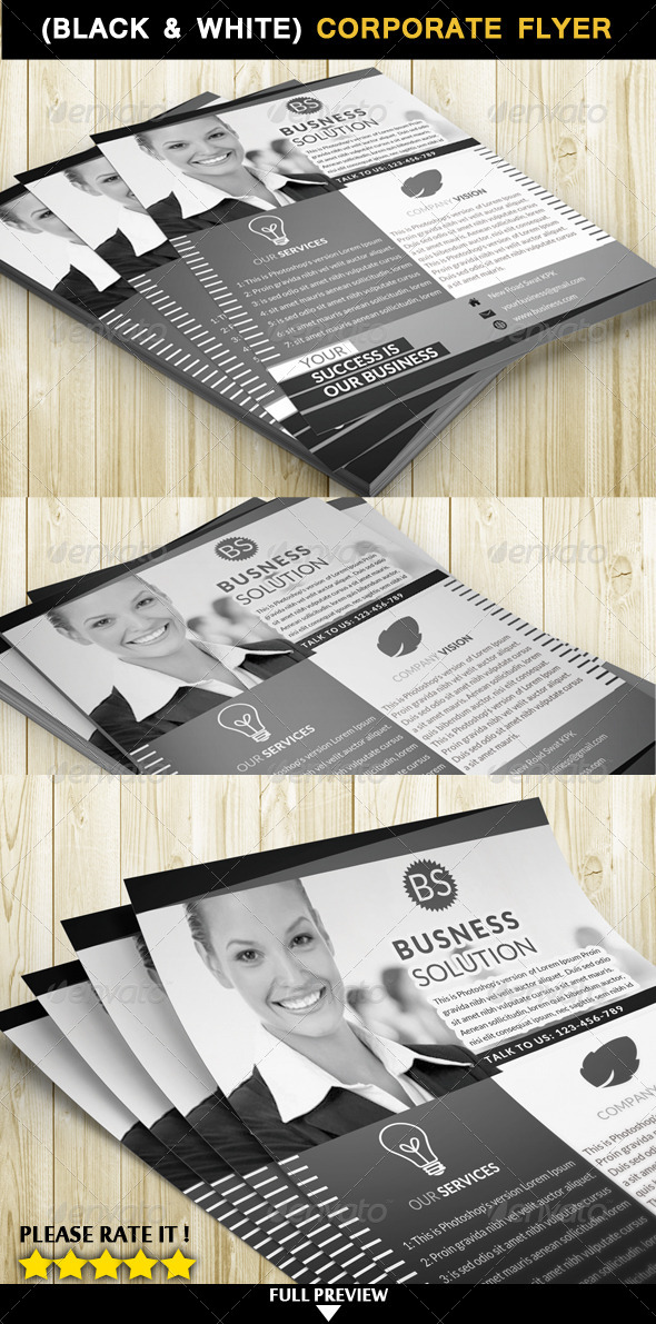 GraphicRiver Corporate Flyer Black & White 6913146