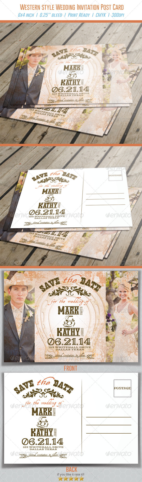 Western Style Wedding Invitation Post Card