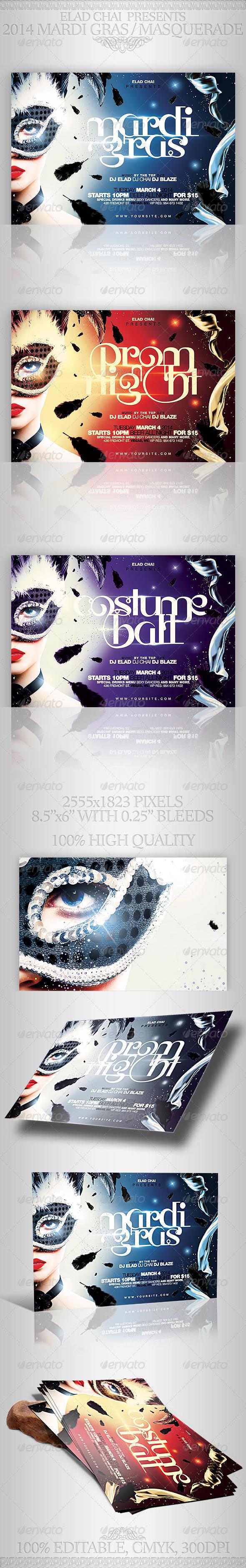 GraphicRiver 2014 Mardi Gras & Masquerade Flyer Template 6906877