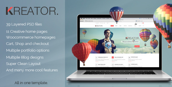 ThemeForest Kreator Fresh and Creative PSD Template 6913240