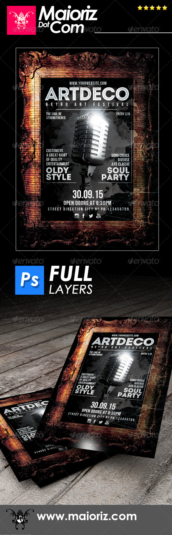GraphicRiver Art Deco Flyer Concert 6913406