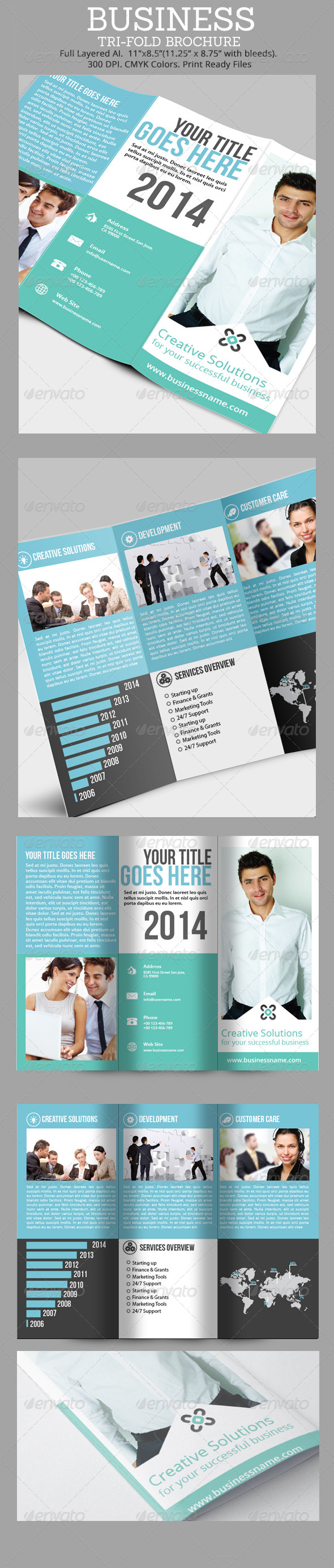 Simple Business Tri-Fold Brochure  - Corporate Brochures