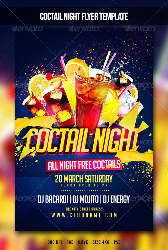 GraphicRiver Coctail Night Flyer 6913481