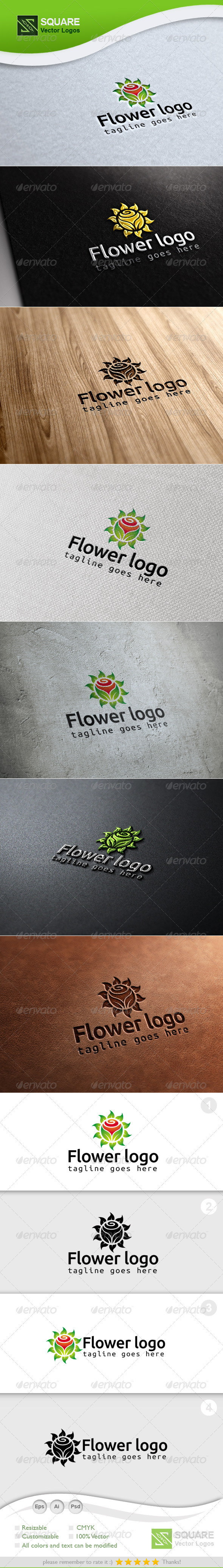Leafs Flower Vector Logo Template