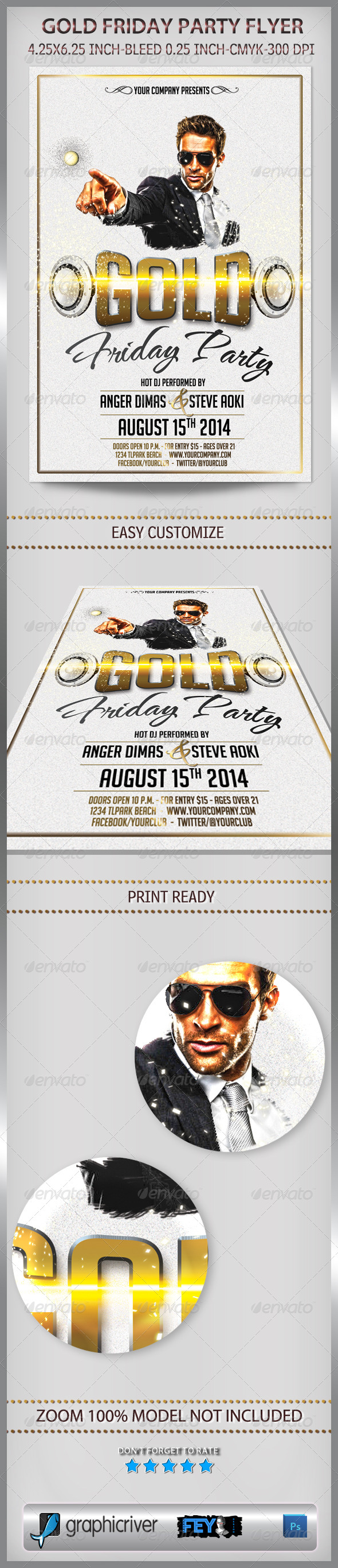 GraphicRiver Gold Friday Party Flyer 6913499