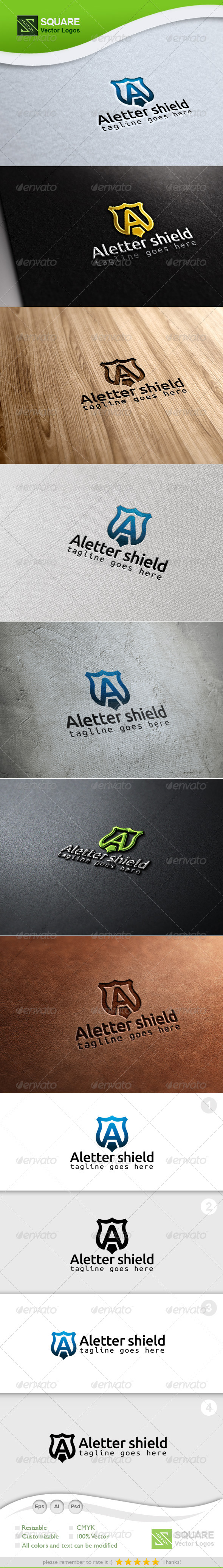 A, Shield Vector Logo Template - Letters Logo Templates