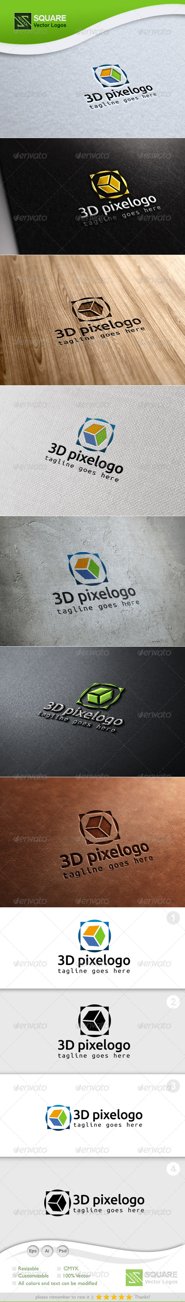 3D, Pixel Vector Logo Template - 3d Abstract