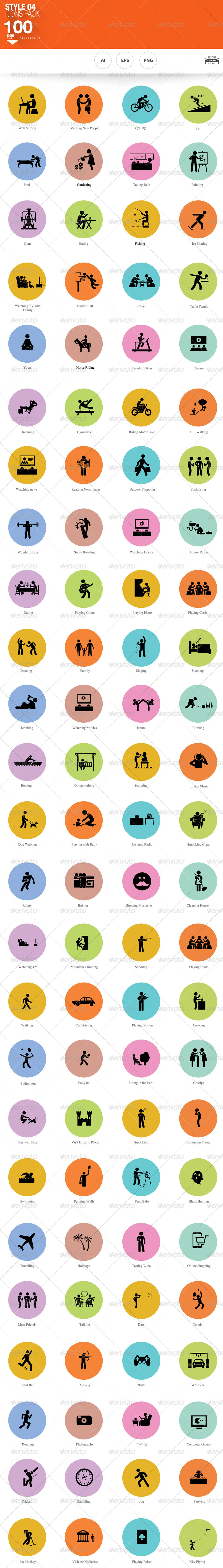 100 hobbies and interests icons by nadia 1 graphicriver 100 hobbies and interests icons