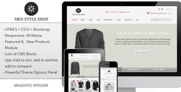 ThemeForest Men Style Shop Responsive Magento Theme 6913555