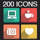 200 Long Shadow Icons - GraphicRiver Item for Sale