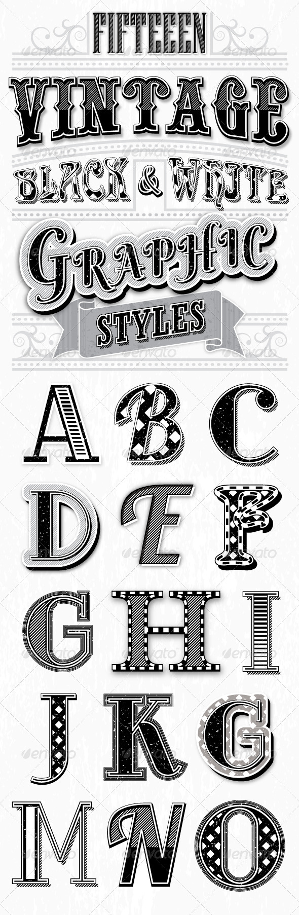 GraphicRiver Vintage Black and White Styles 6913638