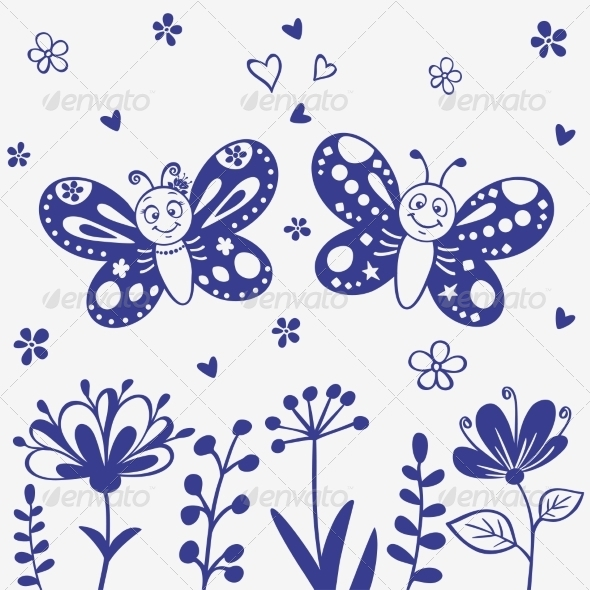 GraphicRiver Butterflies Silhouette 6913798