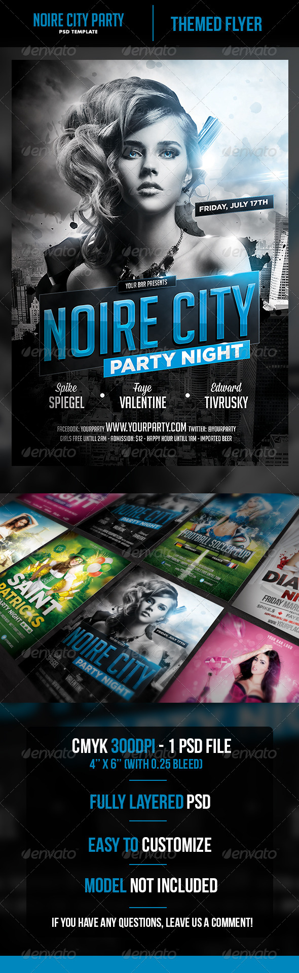 GraphicRiver Noire City Party Flyer Template 6913876
