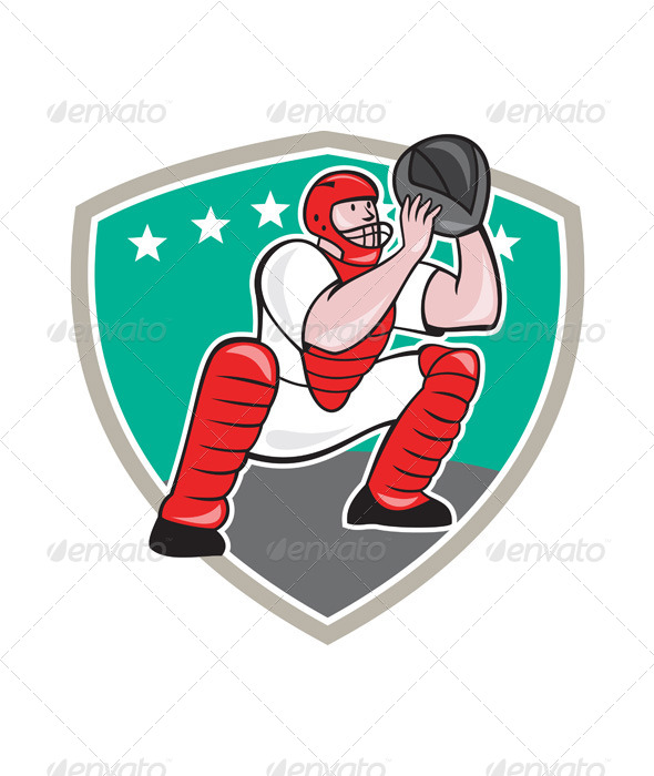 GraphicRiver Baseball Catcher Shield Cartoon 6913880