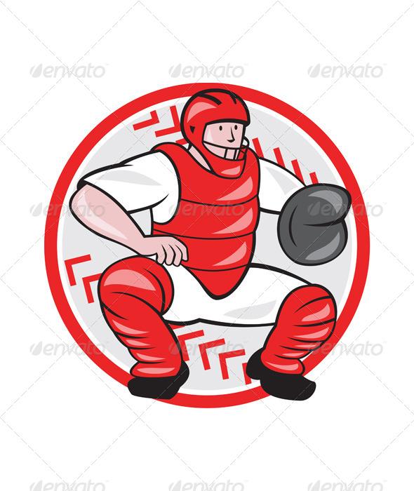 GraphicRiver Baseball Catcher Catching Cartoon 6913887