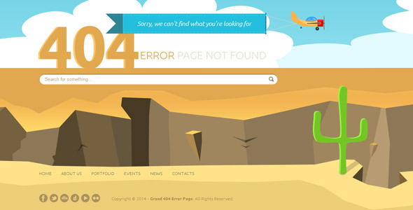 Grand 404 Animated Error Page Template - 404 Pages Specialty Pages