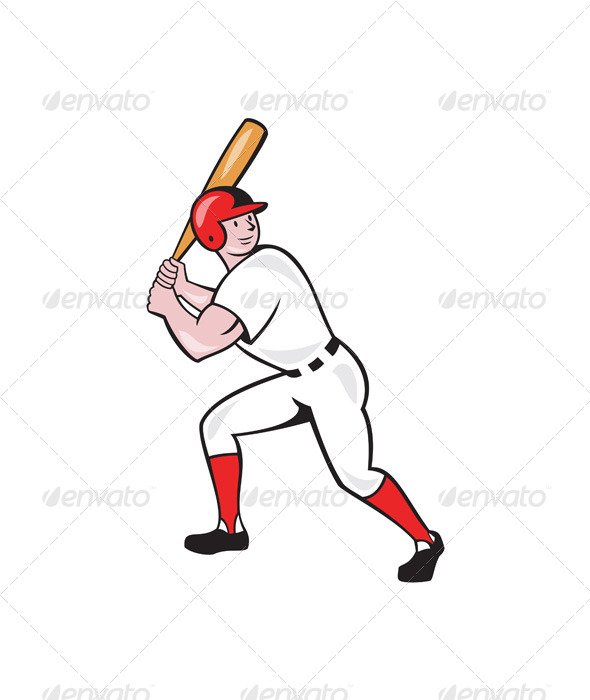 GraphicRiver Baseball Player Bat Side Isolated Cartoon 6913901