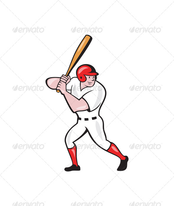 GraphicRiver Baseball Player Batting Side Isolated Cartoon 6913911