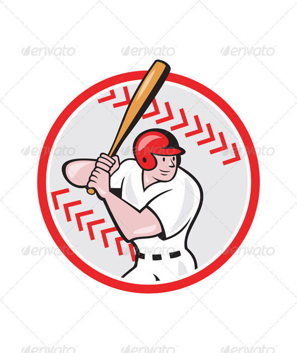 GraphicRiver Baseball Player Batting Ball Cartoon 6913920