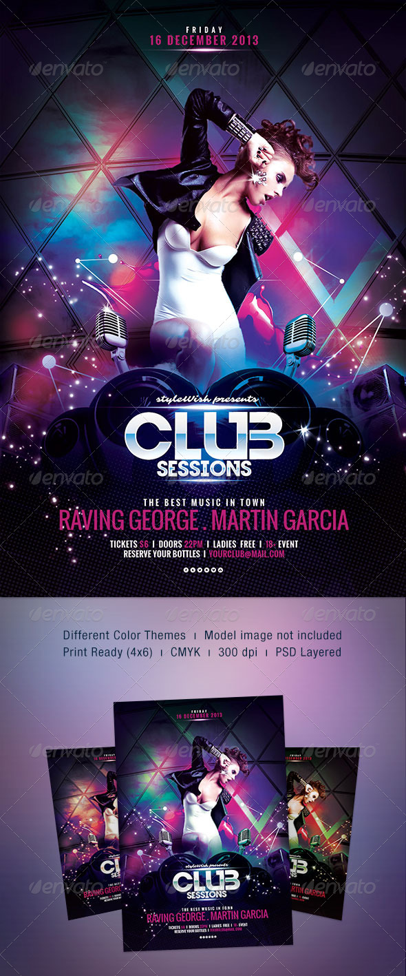 Club Sessions flyer - Clubs & Parties Events