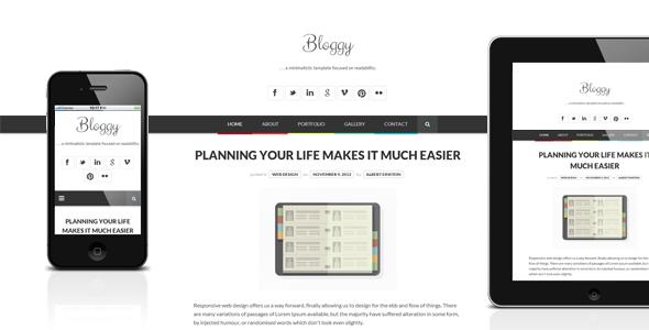 Bloggy WP - Responsive Minimalist Theme - Personal Blog / Magazine