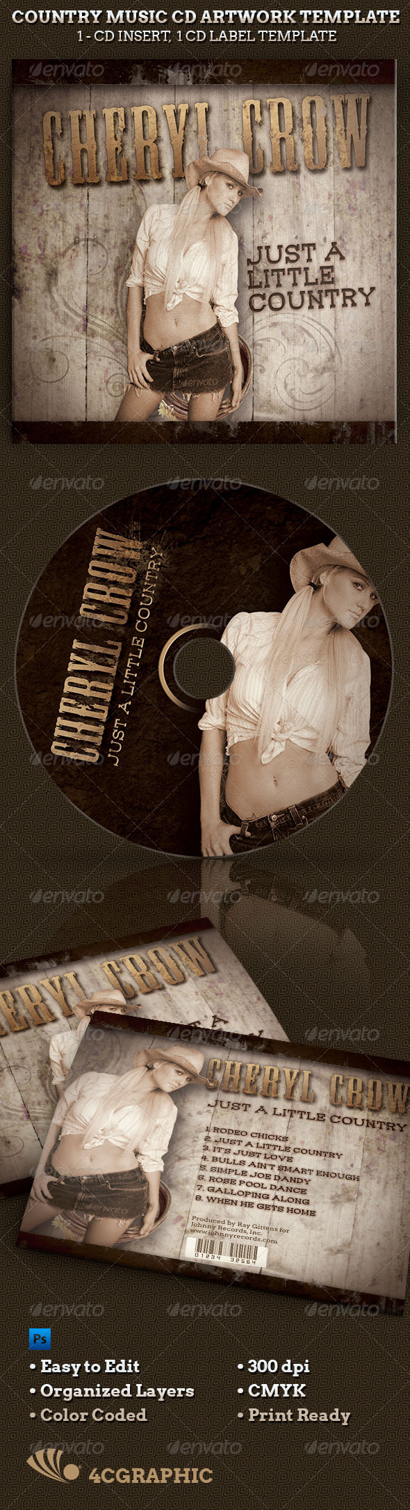 Country Western Music CD Artwork Template - CD & DVD Artwork Print Templates
