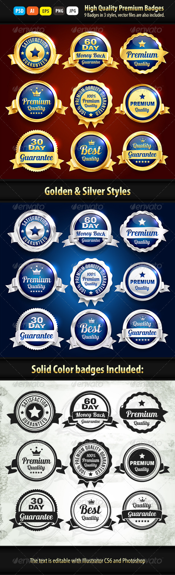 GraphicRiver Gold And Silver Premium Quality Badges 6914447