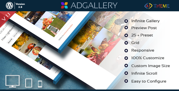 AD Gallery is a Wordpress Galleries Plugin. You can create a gallery with one click. AD Gallery includes 5 different gallery type. With this plugin you can crea